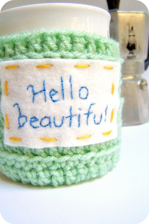 Mug Coffee Tea Cup Cozy Hello Beautiful green yellow blue crochet handmade cover
