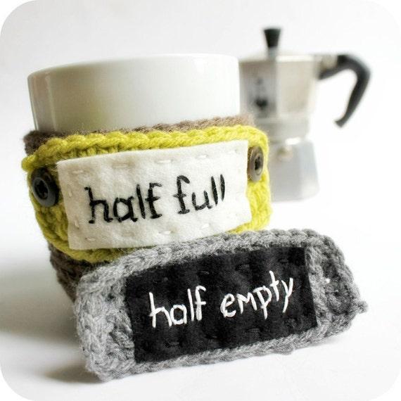 Mood Coffee Mug Cozy Tea Cup Half Empty Half Full funny crochet brown gray black lime handmade cover