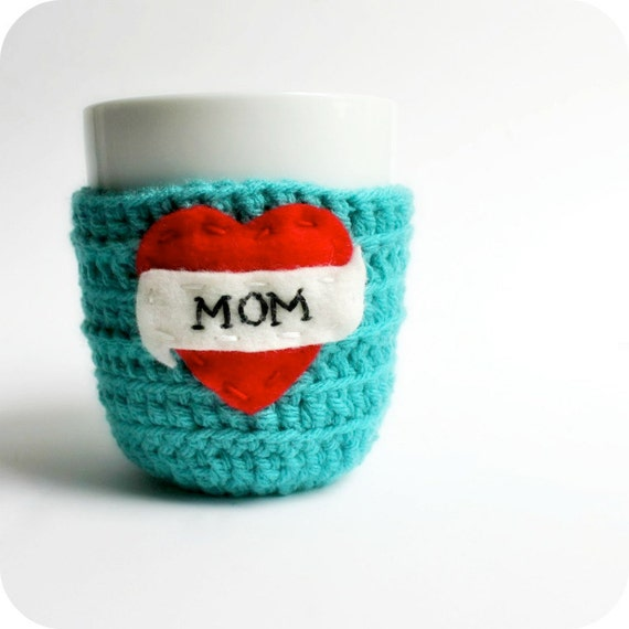 Mom mug cozy, Coffee Cozy, Tea Cup Cozy, cosy, funny, tattoo heart, turquoise red, stocking stuffer, love, unique gift,gift under 25, mother