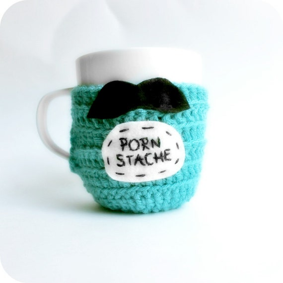 Funny Coffee Mug Cozy Tea Cup Porn Stache turquoise black crochet handmade cover