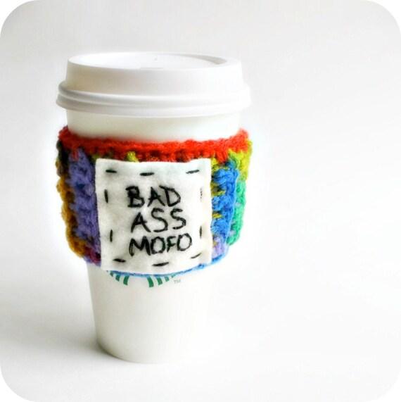 Bad Ass Mofo Funny Travel Mug To Go Cup Coffee Tea Cozy rainbow crochet handmade cover