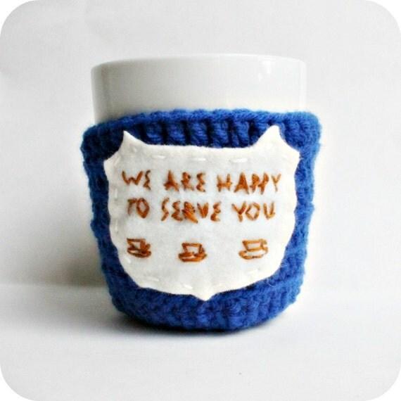 Greek Coffee Cup Cozy Mug Cozy blue white brown crochet handmade cover