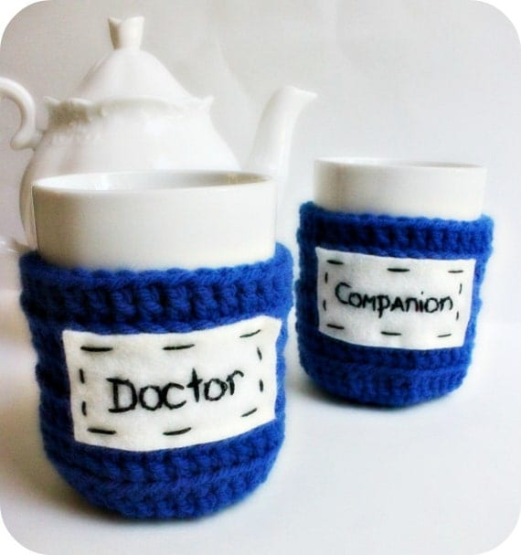 Doctor, Companion, Coffee Mug Cozy, Tea Cup set, Doctor Who, royal blue, crochet, science fiction, time lord, his hers, couple, cosy