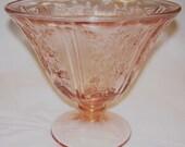Sharon Cabbage Roses Pink Pedestal Depression Glass Bowl