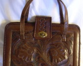 Vintage Leather Tooled Handbag--Made in Mexico