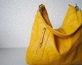 Leather purse Max large yellow---Adeleshop handmade Leather bag Messenger hobo Shoulder bag Tote Handbag Hip bag Women