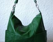 Leather hobo Jolie medium green---Adeleshop handmade Leather bag Messenger Diaper bag Shoulder bag Tote Handbag Hip bag Women