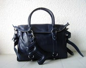 LAST ONE Leather handbags---Adeleshop clip on laptop messenger satchel purse shoulder cross body bag in Navy