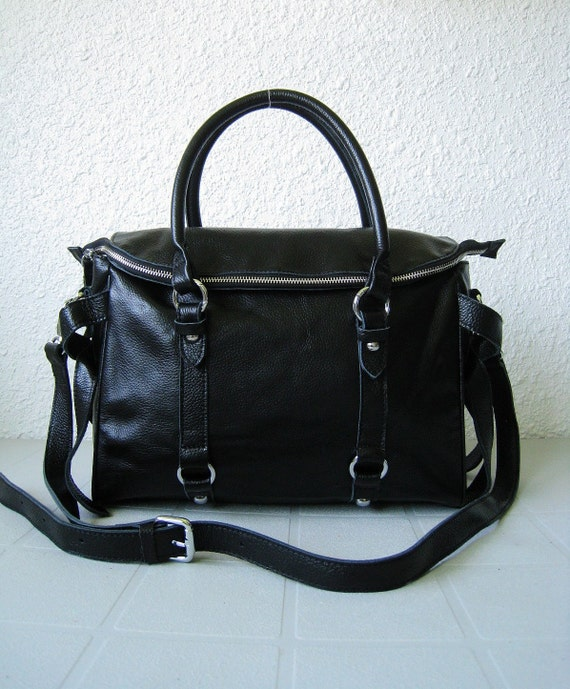 LAST ONE leather handbags---Adeleshop clip on laptop messenger satchel purse shoulder cross body bag in Black