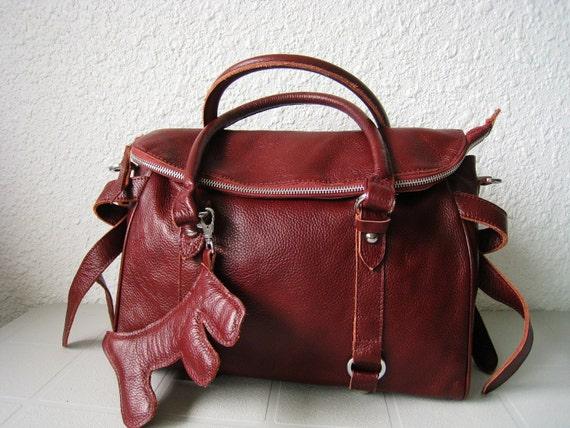 leather handbag---Adeleshop clip on laptop messenger satchel purse shoulder cross body bag in Cherry Brown