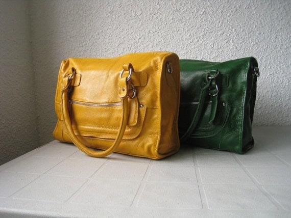 Leather satchel Cleo medium yellow--Adeleshop handmade Leather bag/ Messenger /Diaper bag/ Shoulder bag/ Tote/ Handbag/ Hip bag/ Women