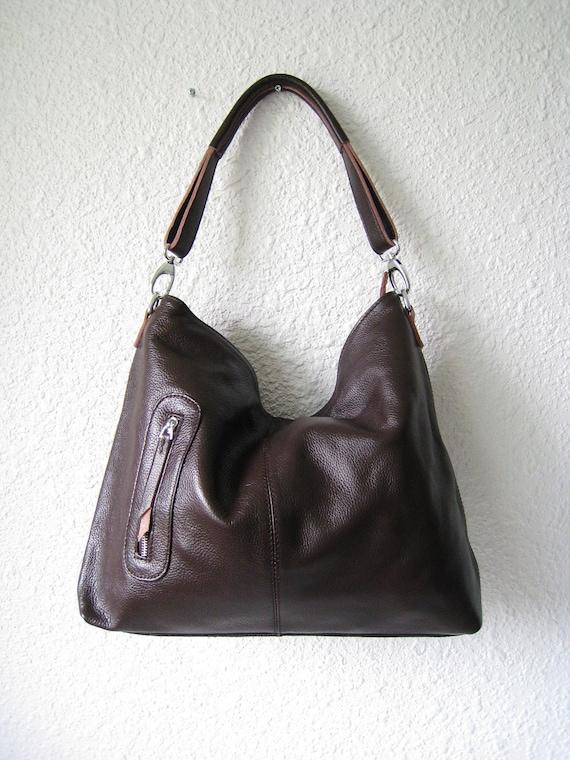 SALE 15% leather handbags Adeleshop clip on hobo laptop messager satchel shoulder cross body bag MEDIUM in Dark Brown