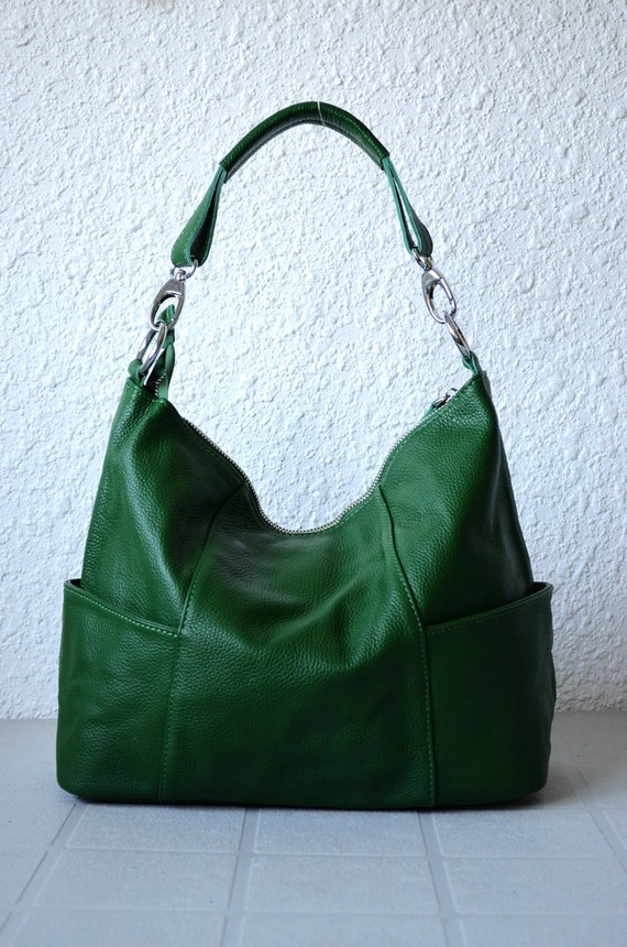 Leather hobo Jolie medium green---Adeleshop handmade Leather bag Messenger Diaper bag Shoulder bag Tote Handbag Hip bag Women