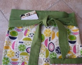 Half Apron with green and yellow fruit slices