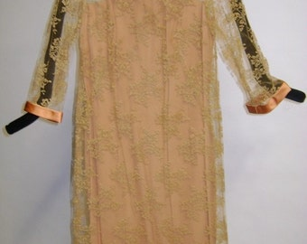 60's Orange Gold Lace Cage Dress
