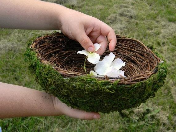 Flower Girl Basket Moss : Moss birds nest flower girl basket by serendipitybysuzanne