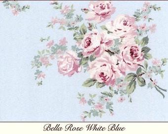 Rachel Ashwell Shabby Chic BELLA ROSE blue FABRIC  crisp poplin 1 Yard more is avail