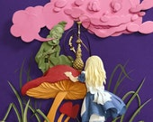 Alice in Wonderland Giclee Art Print Fantasy Story Paper Illustration Sir John Tenniel Reinterpretation Bubblegum Pink Dark Purple 8inx10in