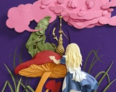 Alice in Wonderland Giclee Art Print Fantasy Story Paper Illustration Sir John Tenniel Reinterpretation Bubblegum Pink Dark Purple 5inx7in