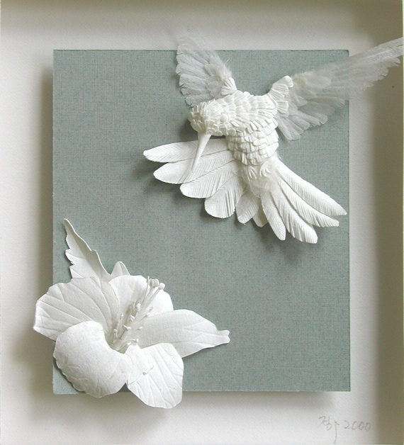 A hummer and a flower ----- Framed Custom PAPER SCULPTURE
