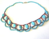 Beaded Turquoise Necklace, Turquoise necklace, Beaded Necklace, Red, silver necklace, flat  turquoise nuggets necklace