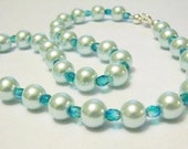 Blue Pearls Crystals Necklace, Beaded Jewelry, weddings jewelry