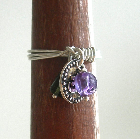 Sterling Silver Ring with Om Charm Tourmaline and Amethyst
