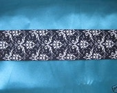 CLEARANCE 3 yards black and ivory grosgrain ribbon 1.5 inches wide