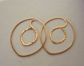 INFINITY Double HOOPS - Chubby Leaf - Copper / Sterling Silver / Gold filled - Reversible, Ready to Ship