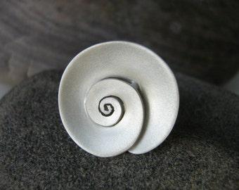 Nautilus - Spiral Organic Ring --- Sterling Silver - medium