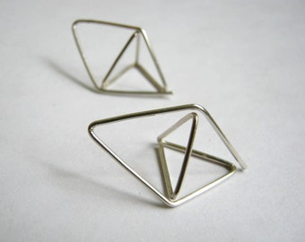 Pyramid - Diamond Hoop Earrings No.1 - Geometric - Unusual OctaheDron Sterling Silver - metalmorphoz