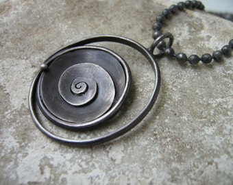Destash! On SALE! Oval Spiral Rustic Pendant - Sterling silver - Ready to ship - (Chain not included)