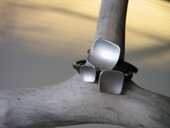 Soft Square Bowl Stack Rings mix and match TRIO - Sterling silver