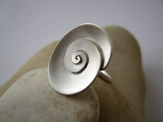 Oval Spiral Ring--Sterling silver -- Handmade Jewellery Designed by Metalmorphoz - Ready to Ship