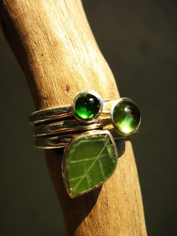 Adorable Green - Stack rings set - Green Tourmaline, Peridot and  Vintage Jade Leaf - Ready to ship
