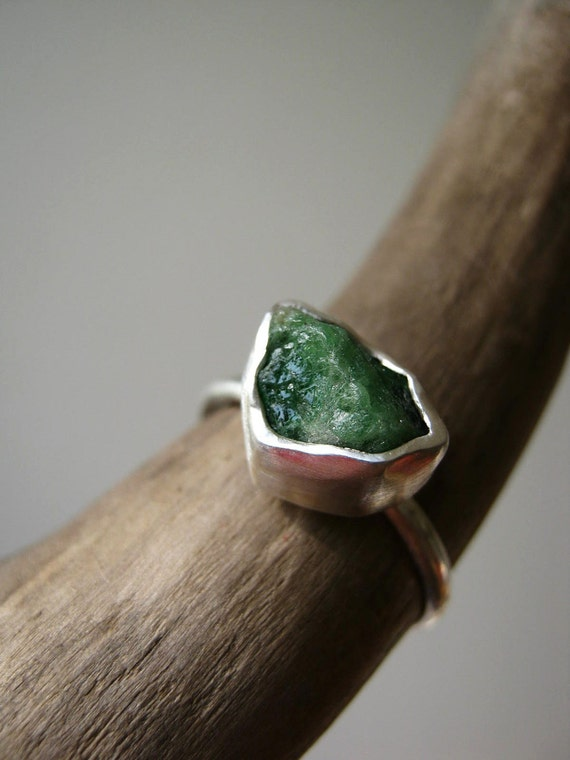 Rough / Raw- Emerald Ring - in Sterling and Pure Silver - Custom size
