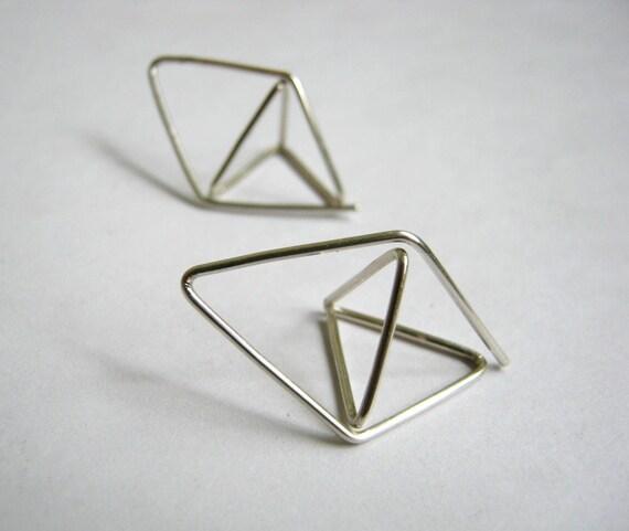 Pyramid - Diamond Hoop Earrings No.1 - Geometric - Unusual OctaheDron Sterling Silver - metalmorphoz
