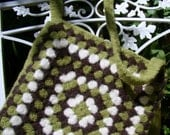 SALE - Green Granny Square Crochet Bag, Felted Wool, Shoulder Strap, Fully Lined