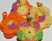 SALE - Crochet Face Scrubbie Flowers in Brites, Set of 8, Crochet