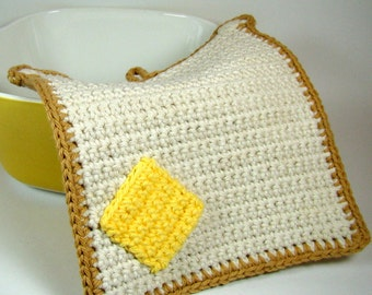 Crochet Toast Pot Holder, Cotton Bread Slice Potholder, Crochet Bread Trivet / Hot Pad, Two Layer Protection, Ready to Ship, Gift for Her