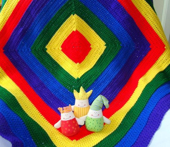 Baby Blanket Afghan Rainbow Primary Colors By Magnoliasurprise