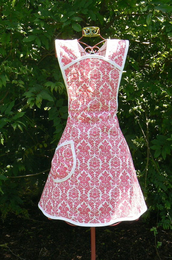 Ladies Full Apron in Hot Pink Damask Ready to ship