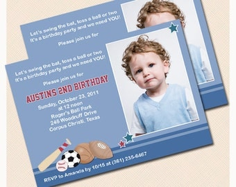 All Stars Sports Photo Birthday Invitation, Baseball birthday invitations, JPG File Digital Invitation Print your Own