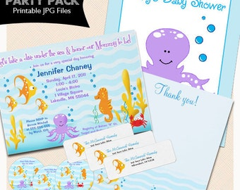 sea critters under the sea baby shower party package invitations thank you note