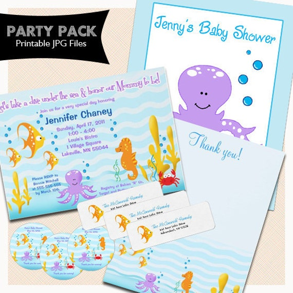SEA CRITTERS Under the Sea Baby Shower Party Package, Invitations, Thank you note, Return Labels