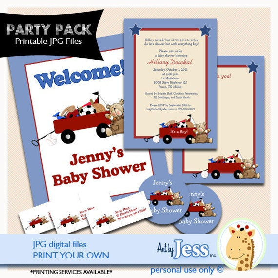 Little Red Wagon Baby Shower Party Package, Invitations, Thank you note, Return Labels, Sign, Stickers
