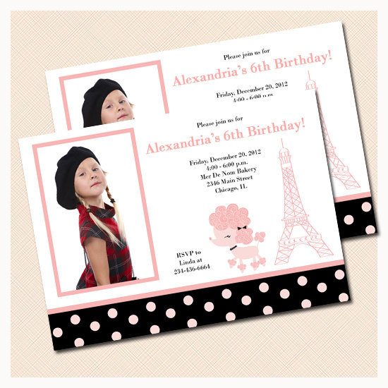 French Paris Poodle Birthday Invitations By