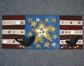 American Crow Flag with Vintage Buttons Wool Penny Rug