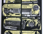 Original Limited Edition Linocut Print - vintage car montage