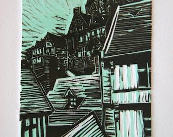 Mont Saint-Michel - Original Linocut Print